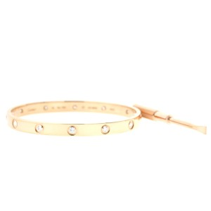 Cartier Love Bracelet Rose Gold Full Diamond Size 17 B6040617