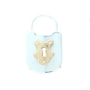 Tiiffany & Co. Sterling Silver and 18K Rose Gold Emblem Lock Pendant