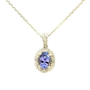 Sterling Silver Tanzanite  Diamond Necklace