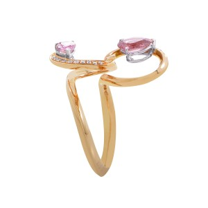 lo Si 18K Rose Gold Pink Sapphire and Diamond Ring