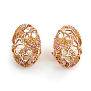 Io Si 18K Rose Gold Multi-Sapphire and Diamond Huggie Earrings