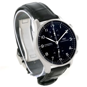 IWC Portuguese  IW371447 Stainless Steel Chrono Automatic Black Dial 40.9mm Mens Watch