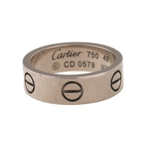 Cartier 18K White Gold Love Ring Size 4.75