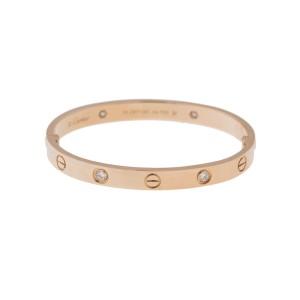 Cartier Love Bracelet 18K Rose Gold Half Diamond Size 19