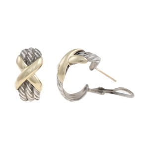 David Yurman Sterling Silver And 14k Yellow Gold X Earrings