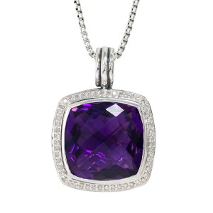 David Yurman Albion Pendant Necklace with Amethyst and Diamonds, Hinged Cable