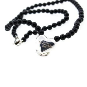 Vintage Tiffany & Co. Sterling Silver Black Onyx Heart Bead Ball Necklace