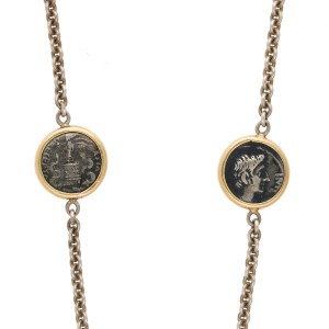 1884 Collection Appia 18K Yellow Gold and Sterling Silver Coin Station Necklace
