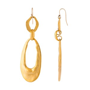 Alexis Bittar Gold Tone Hardware Hammered Finish Oval Drop Earrings