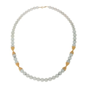 German Dior Faux Blue Chalcedony Bead Necklace