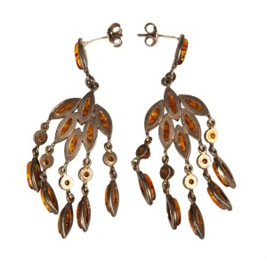 Sterling Silver and Baltic Amber Chandelier Earrings