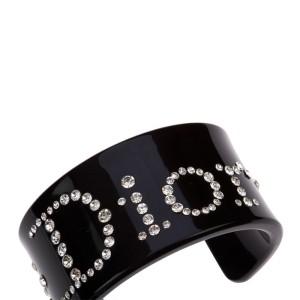 Christian Dior Black Plastic and Rhinestone Cuff Bracelet