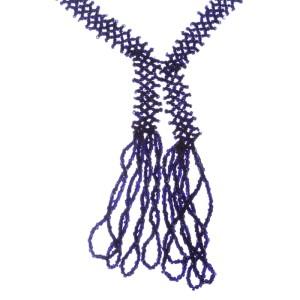 Victorian Jet Seed Bead Flapper Tassel Necklace