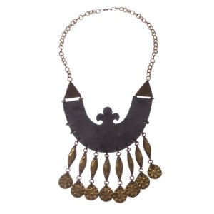 Turkmenistan Brass Charm Tassel Necklace