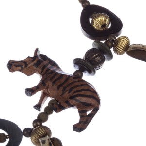 African Wood Safari Bead Charm Necklace