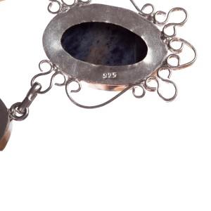Sterling Silver and Lapis Lazuli Bezel Set Necklace