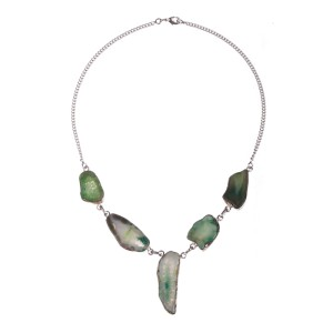 Sterling Silver and Green Druzy Agate Stone Bezel Set Necklace