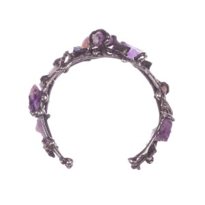 Brutalist Amethyst and Black Tourmaline Bracelet