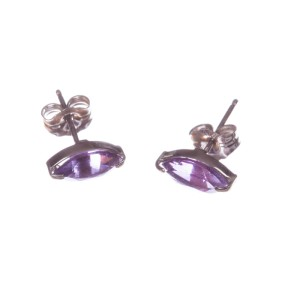 14 kt White Gold Marquise Amethyst Earrings