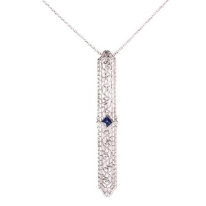 Art Deco 14 kt White Gold Filigree Necklace with Blue Sapphire