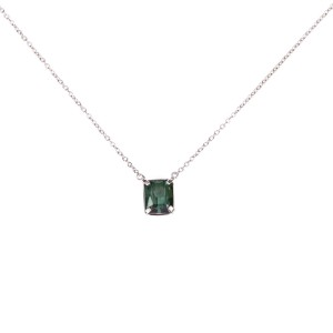 14 kt White Gold Prong Set Green Tourmaline Necklace