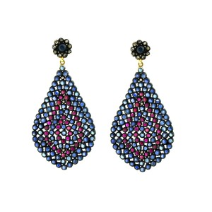 14k Yellow Gold Ruby and Blue Sapphire Drop Earrings