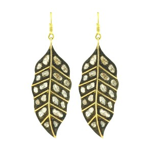 14K Yellow Gold & Sterling Silver Rose Cut Diamond Feather Earrings