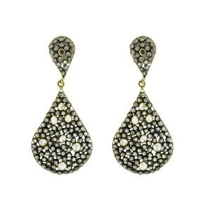 14K Yellow Gold & Sterling Silver Rose Cut Diamond Teardrop Earrings