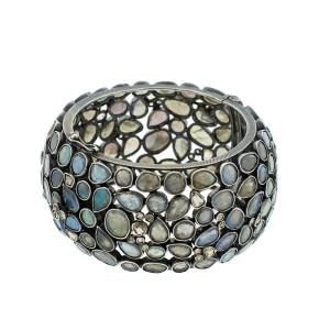 Sterling Silver Labradorite and Diamond Cuff