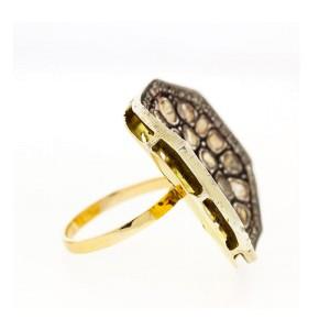14k Yellow Gold Diamond Slice Cocktail Ring