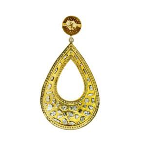 14K Yellow Gold & Sterling Silver Diamond Slice Tear Drop Earrings