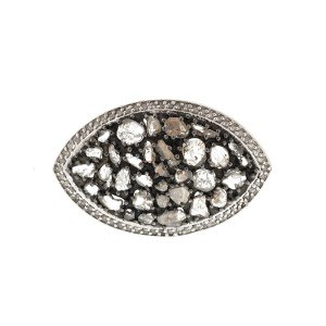 14K Yellow Gold & Sterling Silver Diamond Slice Ring