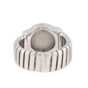 Bulgari 18k White Gold Onyx Tubogas Ring Size 7