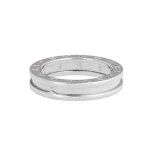 Bvlgari B.Zero1 Band 18K White Gold Ring Size 8.25