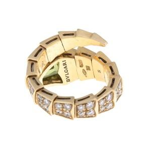 Bulgari 18k Yellow Gold Serpenti Diamond and Peridot Ring Size Small