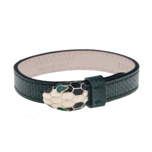 Bvlgari Serpenti Green Leather Bracelet