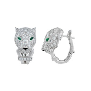Cartier Panthère Earrings 18K White Gold Emerald Onyx 0.72ctw Diamonds
