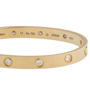 Cartier Love Bracelet 18k Yellow Gold 10 Diamonds Size 17
