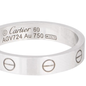Cartier 18k White Gold Mini 1 Diamond Love Ring Size 9