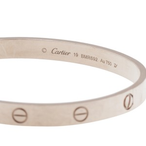 Cartier 18K White Gold Love Bracelet Size 19
