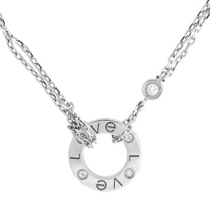Cartier 18k White Gold Love Mini Necklace
