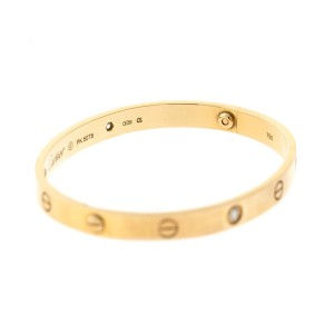 Cartier Love 18k Rose Gold 4 Diamond Bracelet Size 18
