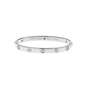Cartier 18k White Gold Love Bracelet 6 Diamond Size 18