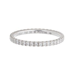 Cartier 18K White Gold 0.50 Ct Diamond Wedding Band Ring Size 7.25