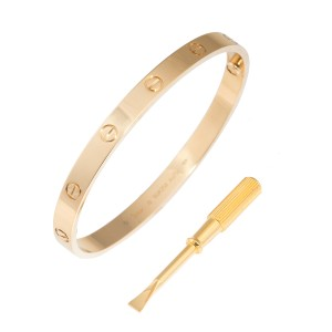 Cartier 18K Yellow Gold Love Bracelet Size 19