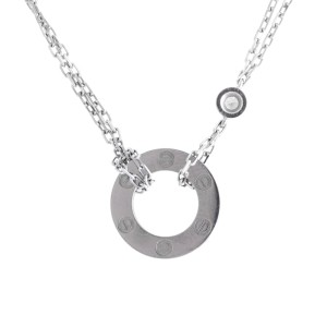 Cartier Love 18K White Gold Mini Diamond Necklace