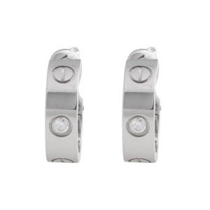 Cartier Love 18K White Gold Diamond Huggie Earrings