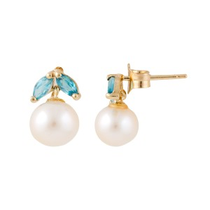 14K Yellow Gold 0.20ct. Blue Topaz and Pearl Earrings