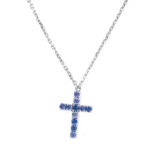 Cartier 18K White Gold Blue Sapphire Cross Pendant Necklace
