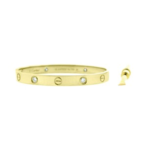 Cartier Love 18k Yellow Gold Half Dia B6035917 Bracelet Size 20